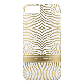 Modern Gold Zebra Stripes 2 White Background iPhone 8/7 Case