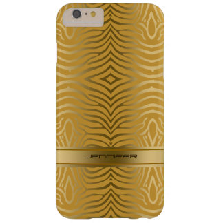 Modern Gold Zebra Stripes 2 Yellow Background Barely There iPhone 6 Plus Case