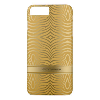 Modern Gold Zebra Stripes 2 Yellow Background iPhone 8 Plus/7 Plus Case