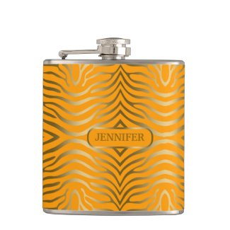 Modern Gold Zebra Stripes Over Yellow Flask