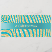 Modern Gold Zebra Stripes Teal Gift Certificates