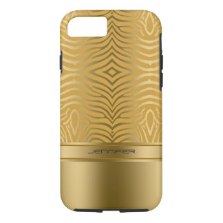 Modern Gold Zebra Stripes Yellow Background iPhone 8/7 Case