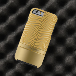 Modern Gold Zebra Stripes Yellow Background Tough iPhone 6 Case