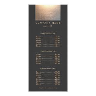 Modern Gold Zen Glow Salon Price List Menu