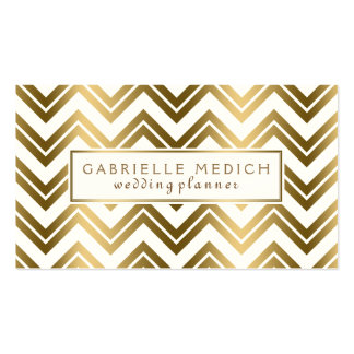 Modern Gold Zigzag Chevron Wedding Planner Double-Sided Standard Business Cards (Pack Of 100)