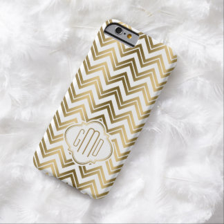 Modern Gold Zigzag Chevron White Background 2a Barely There iPhone 6 Case