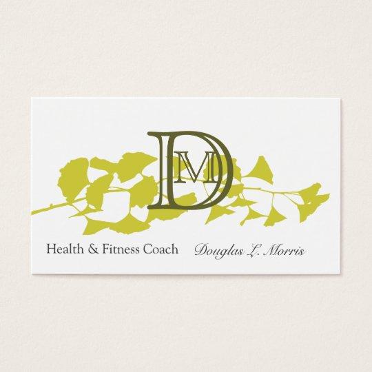 Modern Golden Ginkgo Professional Monogram Business Card