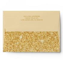 Modern Golden Glitz Glitter Wedding Envelope
