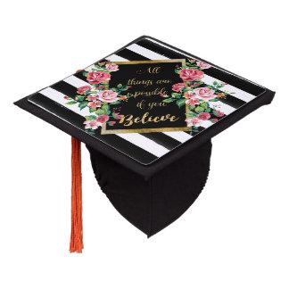 Modern golden inspirational  quote graduation cap topper