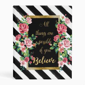 Modern golden inspirational  quote mini binder