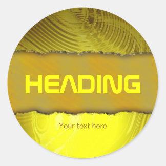 Modern golden label template text design classic round sticker