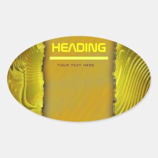 Modern golden label template text design oval sticker