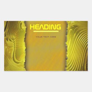 Modern golden label template text design rectangular sticker