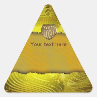 Modern golden label template text design triangle sticker