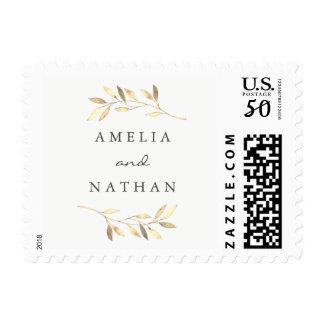 Modern Golden Leaf Wedding Stamp