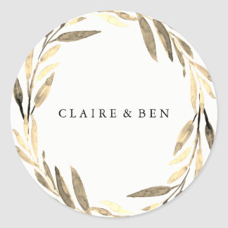 Modern Golden Leaf Wreath Any Occasion Sticker