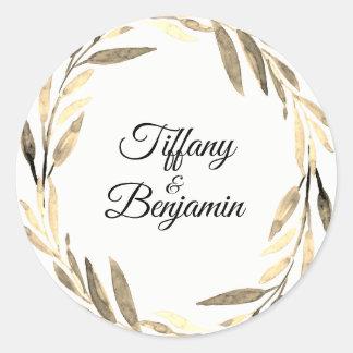 Modern Golden Leaf Wreath Wedding Engagement Party Classic Round Sticker