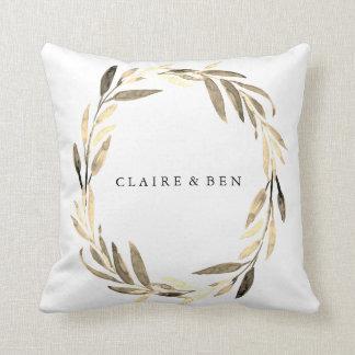 Modern Golden Leaf Wreath Wedding Engagement Party Throw Pillow