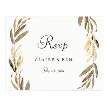 Modern Golden Leaf Wreath Wedding RSVP Postcard