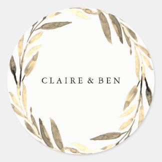 Modern Golden Leaf Wreath Wedding Sticker