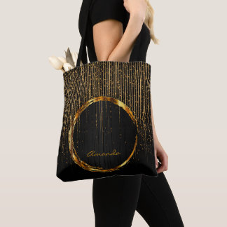Modern Golden Light Stars and Black Design Tote Bag