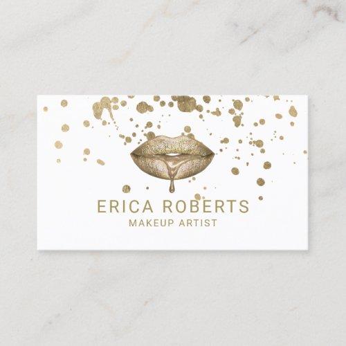 Modern Golden Lips Gold Splatter Makeup Artist Business Card