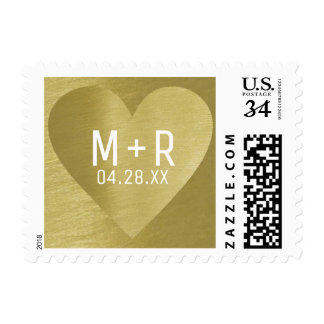 modern golden love heart with couple initials postage