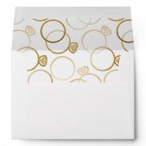 Modern Golden Rings Wedding Invitation Envelope