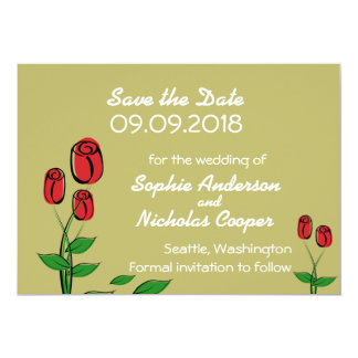 "Modern Golden Rose Save the Date 5"" X 7"" Invitation Card"