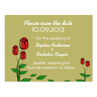 Modern Golden Rose Save the Date Postcard