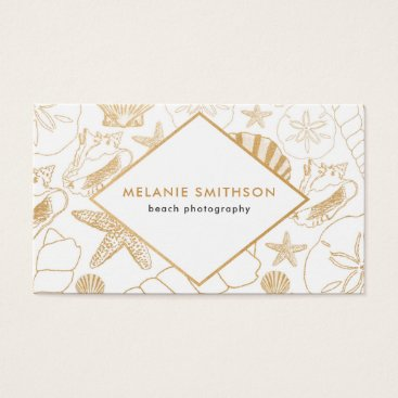 Professional Business Modern Golden Shell beach themed business card
