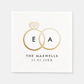 Modern Golden Wedding Rings Cocktail Napkin