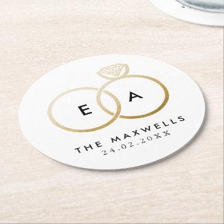 Modern Golden Wedding Rings Reception Round Paper Coaster
