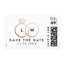 Modern Golden Wedding Rings Save the Date Stamp