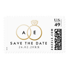 Modern Golden Wedding Rings Save The Date Stamp at Zazzle