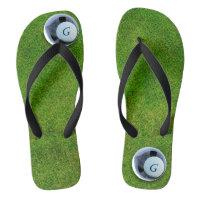 Modern Golfer Golf Course Monogram Putting Green Flip Flops