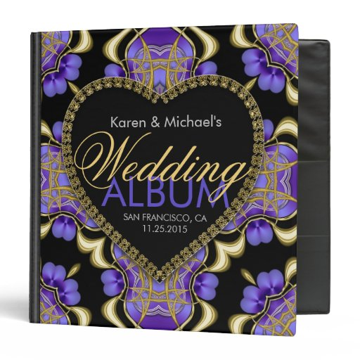 Modern Goth Purple Gold Wedding Album Binder