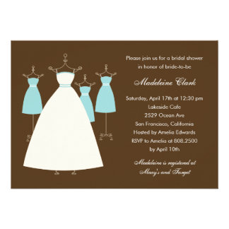 Modern Gowns Bridal Shower Invitation - Turquoise Custom Announcements