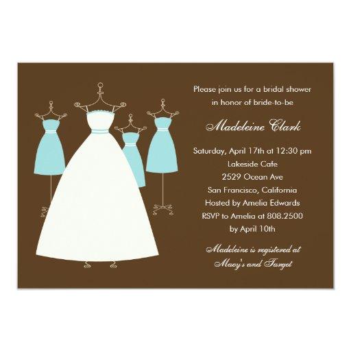 Modern gowns bridal shower invitation turquoise zazzle for Modern bridal shower invitations
