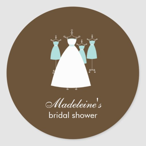 Modern Gowns Favor Stickers - Turquoise