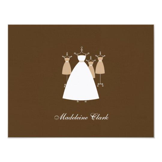 Modern Gowns Flat Thank You Card - Latte