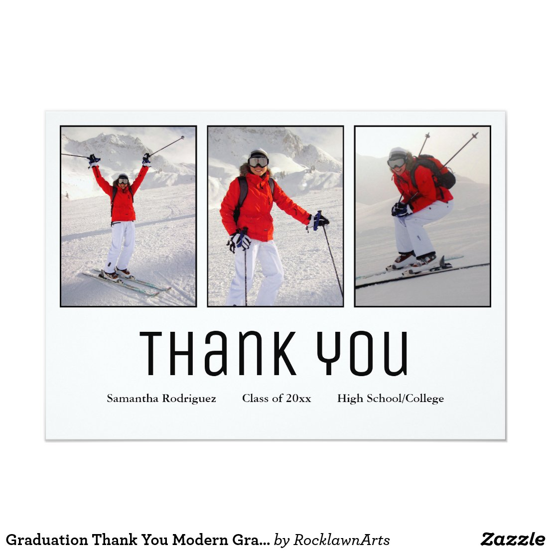 Modern Grad 3 Photo Graduation Thank You Card