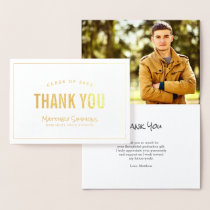 Modern Grad Gold Foil Photo Thank You Card