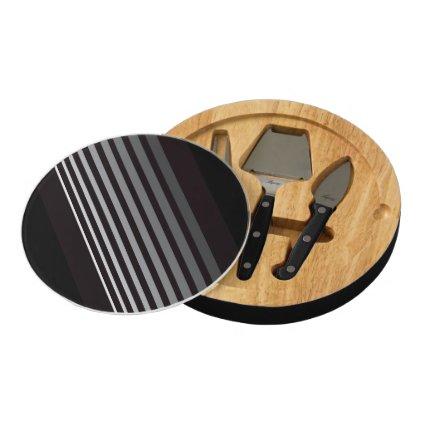 Modern gradient gray designer stripes round cheeseboard