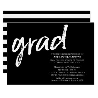 Modern Graduate Custom Trendy Black Grad Card