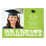Modern Graduate Green Photo Graduation Party 5x7 Paper Invitation Card