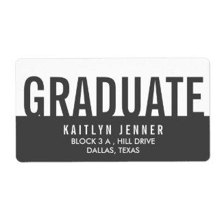 Modern Graduate Typography Charcoal Grey Label