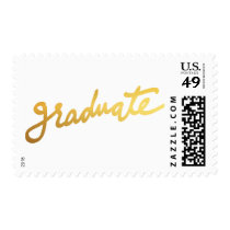 Modern Graduate Typography Gold Foil Chic Postage