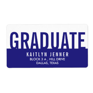 Modern Graduate Typography Navy Blue And White Label