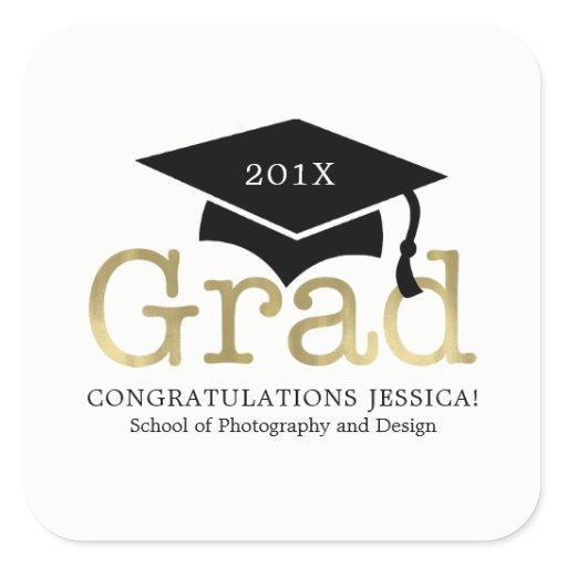Modern Graduation Cap Square Sticker